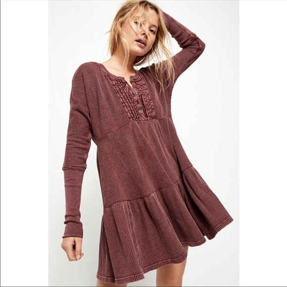 Free People Dresses & Skirts - Free People FP One Jolene Mini Dress Wine XS NWT
